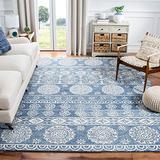 Safavieh Micro-Loop Collection MLP607M Handmade Premium Wool Area Rug, 5' x 5' Square, Blue / Ivory