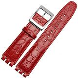 Choco&Man US Swatch Luxury Calfskin Leather Watch Band Deployment Clasp Metal Watch Strap Removable Links for Men Women