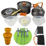 LAOLIU Outdoor Cookware Camping Picnic Hiking Cookware Set Pot Set Teapot Cutting Board Cutlery Cup Set Ultra Light Portable Furnace Set 2-3 Set Cookware Set (Orange B)