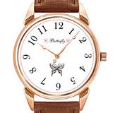 Mens Watches Fashion Luxury Quartz Watch Business Waterproof Luminous Watch Men Brown Leather Watch Christmas Butterfly Ribbon Wrist Watch