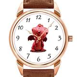 Mens Watches Fashion Luxury Quartz Watch Business Waterproof Luminous Watch Men Brown Leather Watch Christmas Goofy Winged Red Dragon with Crazy Smile Wristwatch