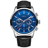 LIGE Watches for Men Male Fashion Luxury Business Analog Quartz Chronograph Watch Man Waterproof Classic Casual Blue Men Wrist Watch with Black Leather Elegant Gents Dress Calendar Watches