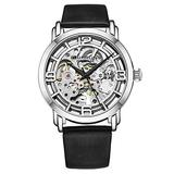 Stuhrling Original Watches for Women Automatic Watch - Skeleton Watch for Women - Self Wind Womens Dress Watches with Silver Face and Black Leather Watch Strap Mechanical Wrist Watch for Woman