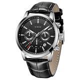 LIGE Watches for Men Gents Fashion Luxury Business Analog Quartz Chronograph Watch Men Man Classic Casual Waterproof Male Wrist Watch Black Leather Elegant Men Watch Gents Dress