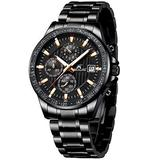 MEGALITH Mens Watches with Stainless Steel Waterproof Analog Quartz Fashion Business Black Chronograph Watch for Men, Auto Date