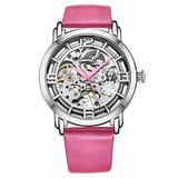 Stuhrling Original Watches for Women Automatic Watch - skeletonized Watch - Self Winding Movement Womens Dress Watches with Silver Face and Pink Leather Watch Strap Mechanical Wrist Watch for Woman