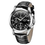 LIGE Mens Watches Casual Leather Analog Quartz Watch Men Black Fahison Dress Wristwatch Men's Waterproof Chronograph Sport Clock Business Date Casual Watch Men
