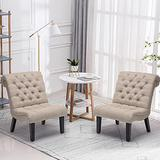 Yongqiang Accent Chairs Set of 2 Button Tufted Upholstered Chair for Bedroom Living Room Office Khaki Fabric