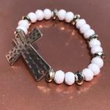 Anthropologie Jewelry | Anthropologie White & Silver Bracelet W Cross | Color: Silver/White | Size: 6 12