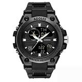 Military Watches for Men, Outdoor Sports Watch Tactical Army Wristwatch LED Stopwatch Waterproof Digital Analog Watches (White)