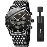 Mens Wrist Watch Black Stainless Steel Watch for Men with Date and Day Casual Roman Luminous Dial Waterproof Big Face Watch Mens Military Chronograph Dress Classic Watches Black Dial OLEVS Watch Men