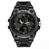 Military Watches for Men, Outdoor Sports Watch Tactical Army Wristwatch LED Stopwatch Waterproof Digital Analog Watches (Black)