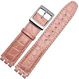 Choco&Man US Compatible 17mm Black Croco Aligator Watch Strap Fits Swatch Watches Replacement Strap