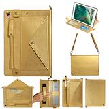 iPad Air 3rd 10.5 Inch 2019 Case with Crossbody Strap, iPad Pro 10.5 Inch Case, DMaos Premium Leather Shoulder Bag Style Wallet Cover, Envelope Cash Pocket Pen Card Holder - Gold
