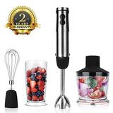 KOIOS Powerful 12-Speed Immersion Blender, Stainless Steel Stick Blender, Ergonomic Comfortable Grip with 2-Cup BPA Free Food Processor, Whisk, ETL Safety Certified, Hand Blender/Mixer (Renewed)
