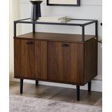 Walker Edison Cabinets Dark - Dark Walnut Finish Glass-Top Console Table