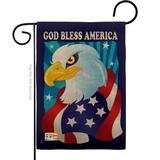 "Breeze Decor G161051-Db Freedom Eagle Burlap Americana Patriotic Impressions Decorative Vertical 13"" X 18.5"" Double Sided Garden Flag in Blue"
