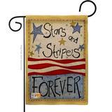 "Breeze Decor G161005-Db Stars & Stripes Burlap Americana Patriotic Impressions Decorative Vertical 13"" X 18.5"" Double Sided Garden Flag in Brown"