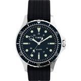 Navi Xl 41mm Fabric Slip-thru Strap Watch Stainless Steel/blue - Blue - Timex Watches