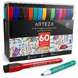 Arteza Magnetic Dry Erase Markers with Eraser, Pack of 60 (with Fine Tip), 12 Assorted Colors with Low-Odor Ink, Whiteboard Pens, Office Supplies for School, Office, or Home