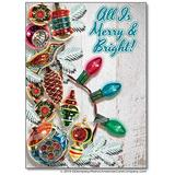 Merry And Bright Vintage Style Christmas Cards, Package of 8
