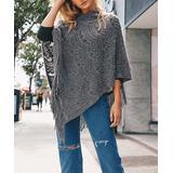 Leto Collection Women's Kimono Cardigans GRAY - Gray Fringe-Hem Poncho - Women