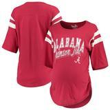 Women's Touch by Alyssa Milano Crimson Alabama Tide Maternity Linebacker Half-Sleeve T-Shirt