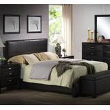 Ireland III Eastern King Bed (Panel) in Black PU - Acme Furniture 14337EK