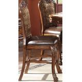 Dresden Counter Height Chair (Set-2) in PU & Cherry Oak - Acme Furniture 12162