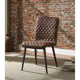 Millerton Side Chair (Set of 2) in Vintage Chocolate Top Grain Leather & Antique Black - Acme Furniture 70423
