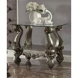 Versailles End Table in Antique Platinum & Clear Glass - Acme Furniture 86842