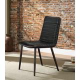 Hosmer Side Chair (Set of 2) in Black Top Grain Leather & Antique Black - Acme Furniture 70422
