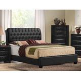 Ireland II Queen Bed (Button Tufted) in Black PU - Acme Furniture 14350Q