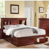 Louis Philippe III - Eastern King Bed w/Storage in Cherry - Acme Furniture 24377EK