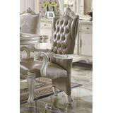 Versailles Arm Chair (Set-2) in Vintage Gray PU & Bone White - Acme Furniture 61133