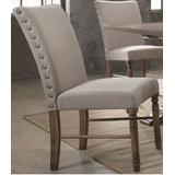 Leventis Side Chair (Set of 2) in Cream Fabric & Weathered Oak - Acme Furniture 74657