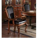 Chateau De Ville Side Chair (Set of 2) in Black PU & Cherry - Acme Furniture 10038