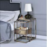 Enca 2Pc Pk Nesting Tables Set in Antique Brass & Clear Glass - Acme Furniture 84470