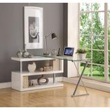 Buck Desk w/ Swivel in White High Gloss & Clear Glass - Acme Furniture 92368