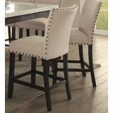 Nolan Counter Height Chair (Set-2) in Linen & Salvage Dark Oak - Acme Furniture 72857