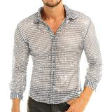 YiZYiF Men's Dress Shirt Shiny Sequins Long Sleeve Button Down 70s Disco Shirt Party Costume Silver Medium