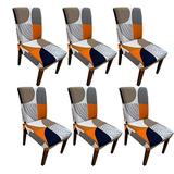 Moonter 6 X Stretch Removable and Washable Spandex/Fabric Dining Room Chair Covers Set Banquet Slipcover Protector Folding Decoration for Wedding, Party,Ceremony,Hotel (Pack of 6, Geometry)