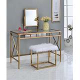 Furniture of America Vanity Champagne - Champagne Kilene Metal & Glass Vanity & Stool