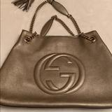 Gucci Bags   Gucci Soho Metallic Chain Medium Tote Gold Beige   Color: Gold   Size: Os
