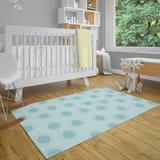 Zoomie Kids Tuttle Power Loom Polyester Teal Indoor Area Rug Polyester in Blue/Green, Size 60.0 H x 60.0 W x 0.08 D in   Wayfair