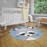 Zoomie Kids Tran Power Loom Polyester Black/Gray/Blue Indoor Area Rug Polyester in Black/Blue/Brown, Size 60.0 H x 60.0 W x 0.08 D in   Wayfair
