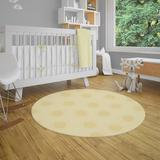 Zoomie Kids Tuttle Power Loom Polyester Indoor Area Rug Polyester in Yellow, Size 60.0 H x 60.0 W x 0.08 D in   Wayfair