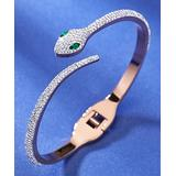 Streetregion Women's Bracelets White - Cubic Zircon & 18k Rose Gold-Plated Snake Bangle