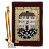 """Breeze Decor Patriotic House 2-Sided Polyester 40 x 28 in. Flag Set in Beige/Black, Size Medium (13-30"""" wide) 