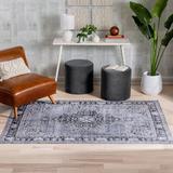 Well Woven Nile Tarifa Bohemian Medallion Gray Area Rug Polyester in Black, Size 67.0 H x 45.0 W x 0.1 D in | Wayfair NIL-07-4